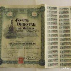 Coleccionismo Acciones Extranjeras: 1900, ACCIÓN BANCO ORIENTAL DE MÉXICO. Lote 191600725