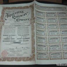 Coleccionismo Acciones Extranjeras: ACCION ARGENTINE RAILWAY COMPANY. CON TODOS LOS CUPONES.. Lote 193336157