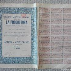 Coleccionismo Acciones Extranjeras: ACCIÓN SOCIÉTÉ ANONYME MINERIE BELGE LA PRODUCTORA 1912. Lote 193631636