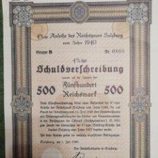 Coleccionismo Acciones Extranjeras: CERTIFICADO BONO DE GUERRA NAZI DEL AÑO 1940 DE 500 REICHSMART DEL 4% . Lote 193651433