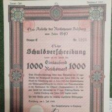 Coleccionismo Acciones Extranjeras: CERTIFICADO BONO DE GUERRA NAZI DEL AÑO 1940 DE 1000 REICHSMART DEL 4% . Lote 193651730