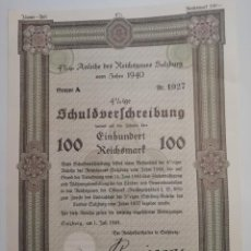 Coleccionismo Acciones Extranjeras: CERTIFICADO BONO DE GUERRA NAZI DEL AÑO 1940 DE 100 REICHSMART DEL 4% . Lote 193651795