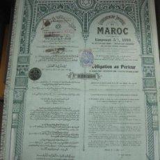 Coleccionismo Acciones Extranjeras: ACCION - OBLIGACION GOUVERNEMENT IMPERIAL MAROC. PARIS 17 MAI 1910.. Lote 194010538