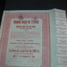 Coleccionismo Acciones Extranjeras: ACCION BANQUE BELGE DU TRAVAIL. CON CUPONES.. Lote 194011887