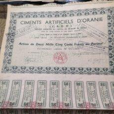 Coleccionismo Acciones Extranjeras: F9. ACCIÓN. CIMENTS ARTIFICIALS D' ORANE. Lote 194320987