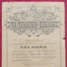 Coleccionismo Acciones Extranjeras: ACCIONES CAPITAN LA AZUFRERA SECHURA SOCIEDAD ANONIMANERA. Lote 195108063
