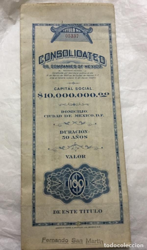 CONSOLIDATED OIL COMPANIES OF MEXICO - DIEZ MILLONES DE PESOS - 1920 MEXICO D. F. -CON CUPONES (Coleccionismo - Acciones Internacionales)