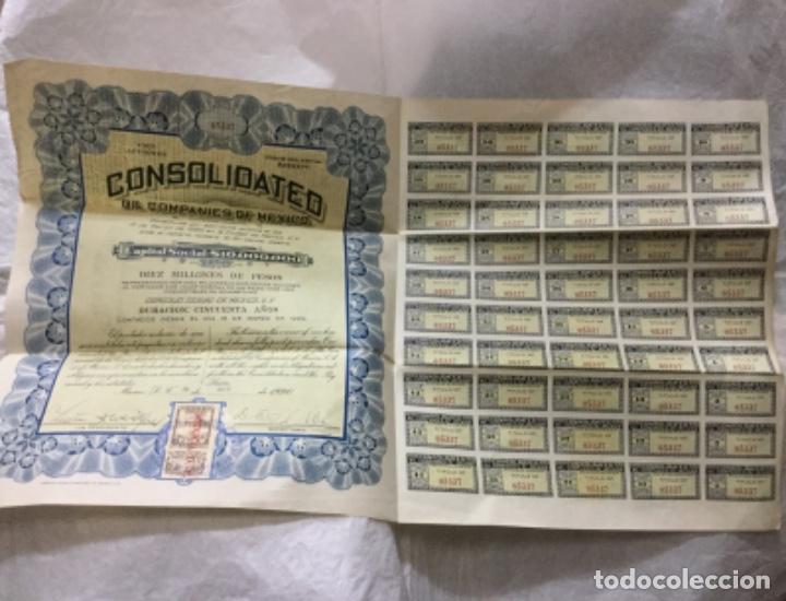 Coleccionismo Acciones Extranjeras: CONSOLIDATED OIL COMPANIES OF MEXICO - DIEZ MILLONES DE PESOS - 1920 MEXICO D. F. -CON CUPONES - Foto 2 - 195817073