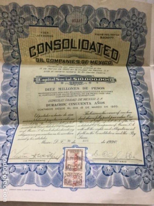 Coleccionismo Acciones Extranjeras: CONSOLIDATED OIL COMPANIES OF MEXICO - DIEZ MILLONES DE PESOS - 1920 MEXICO D. F. -CON CUPONES - Foto 3 - 195817073