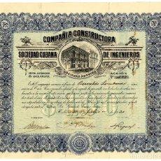 Coleccionismo Acciones Extranjeras: SDAD CUBANA CIA CONSTRUCTORA DE INGENIEROS - ACCION 1920. Lote 201509988