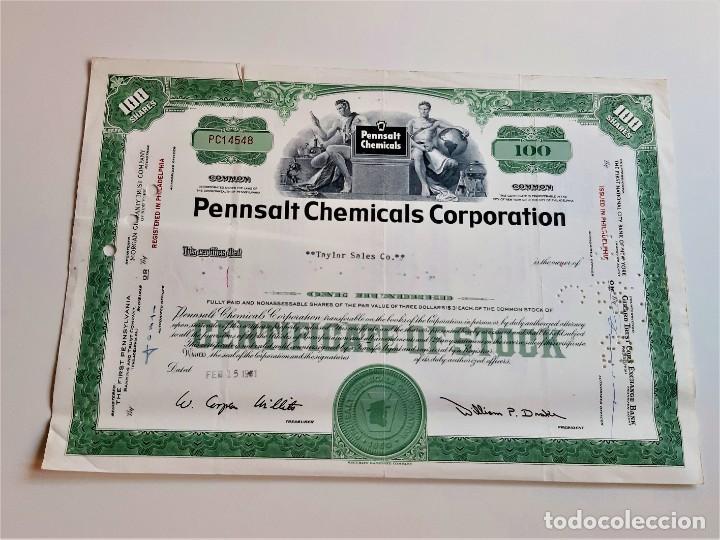 1961 ACCION PENNSALT CHEMICALS CORPORATION (Coleccionismo - Acciones Internacionales)