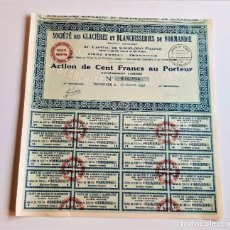 Colecionismo Ações Internacionais: ACCION 1927 SOCIETE DES GLACIERES ET BLANCHISSERIES DE NORMANDIE. Lote 202495525
