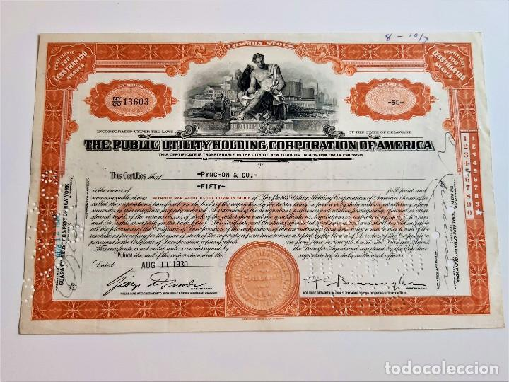 1930 ACCION COMMON THE PUBLIC UTILITY HOLDING CORPORATION OF AMERICA (Coleccionismo - Acciones Extranjeras )