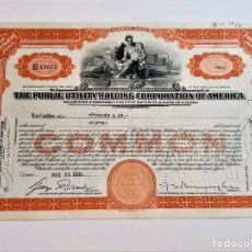 Colecionismo Ações Internacionais: 1930 ACCION COMMON THE PUBLIC UTILITY HOLDING CORPORATION OF AMERICA. Lote 229444795