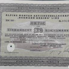 """Coleccionismo Acciones Extranjeras: ALPINE MONTAN AG """"HERMAN GÖRING"""" LINZ (1939). Lote 202629235"""