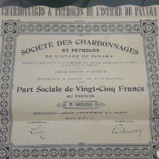 Coleccionismo Acciones Extranjeras: SOCIETE DES CHARBONNAGES ET PETROLES DE L'ISTHME DE PANAMA (1900). Lote 202637752