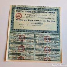 Coleccionismo Acciones Extranjeras: ACCION 1927 SOCIETE DES GLACIERES ET BLANCHISSERIES DE NORMANDIE. Lote 202806577