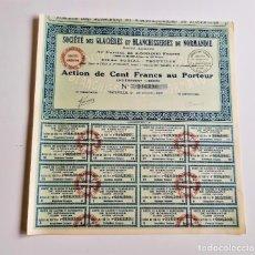 Coleccionismo Acciones Extranjeras: ACCION 1927 SOCIETE DES GLACIERES ET BLANCHISSERIES DE NORMANDIE. Lote 203293807