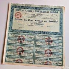 Coleccionismo Acciones Extranjeras: ACCION 1927 SOCIETE DES GLACIERES ET BLANCHISSERIES DE NORMANDIE. Lote 203840116