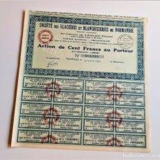 Coleccionismo Acciones Extranjeras: ACCION 1927 SOCIETE DES GLACIERES ET BLANCHISSERIES DE NORMANDIE. Lote 203840360