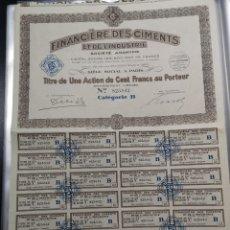 Coleccionismo Acciones Extranjeras: A29. ACCIÓN. ACTION PARÍS. 1929. FINANCIERO DES CIMENTS ET DE L'INDUSTRIE. Lote 203915481