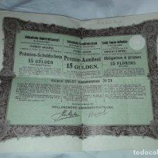 Coleccionismo Acciones Extranjeras: ACCION OBLIGATION PRIMES HOLANDA 15 FLORINS AÑO 1904. Lote 205825085