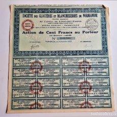 Coleccionismo Acciones Extranjeras: ACCION 1927 SOCIETE DES GLACIERES ET BLANCHISSERIES DE NORMANDIE. Lote 210139332