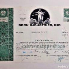 Coleccionismo Acciones Extranjeras: ACCION COMMON 1970 BECK INDUSTRIES, INC.. Lote 210148282