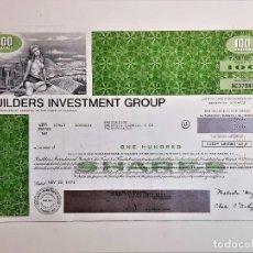 Coleccionismo Acciones Extranjeras: ACCION SHARES 1973 BUILDERS INVESTMENT GROUP. Lote 210148808