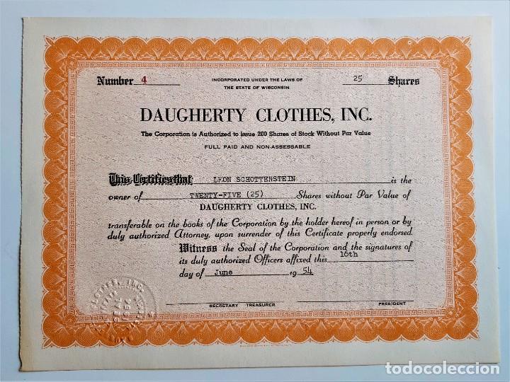 ACCION SHARES 1954 DAUGHERTY CLOTHES, INC. (Coleccionismo - Acciones Internacionales)