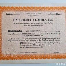 Coleccionismo Acciones Extranjeras: ACCION SHARES 1954 DAUGHERTY CLOTHES, INC.. Lote 210149778