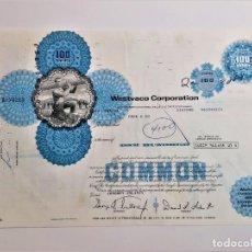 Coleccionismo Acciones Extranjeras: ACCION COMMON 1975 WESTVACO CORPORATION. Lote 210150433