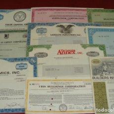 Colecionismo Ações Internacionais: COLECCIÓN DE 10 ACCIONES EXTRAJERAS - DIFERENTES AÑOS - ESTADOS UNIDOS - SALIDA 0,01€. Lote 210550051