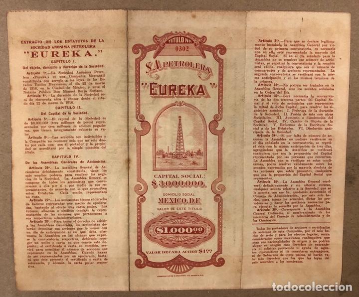 Coleccionismo Acciones Extranjeras: S.A. PETROLERA EUREKA (MÉXICO D.F.). ACCIÓN DEL AÑO 1918 POR VALOR DE $1000, CON CUPONES. - Foto 3 - 211588566