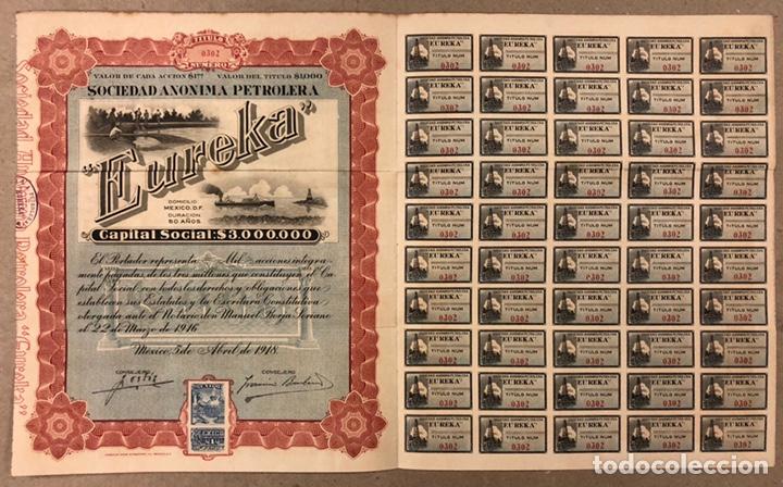 S.A. PETROLERA EUREKA (MÉXICO D.F.). ACCIÓN DEL AÑO 1918 POR VALOR DE $1000, CON CUPONES. (Coleccionismo - Acciones Internacionales)