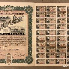 Coleccionismo Acciones Extranjeras: S.A. PETROLERA EUREKA (MÉXICO D.F.). ACCIÓN DEL AÑO 1918 POR VALOR DE $100 , CON CUPONES.. Lote 211589226