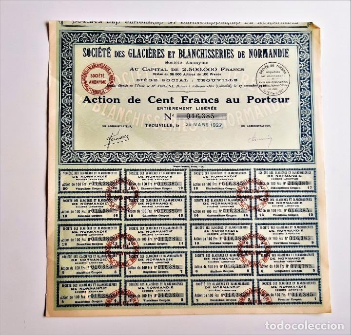 ACCION 1927 SOCIETE DES GLACIERES ET BLANCHISSERIES DE NORMANDIE (Coleccionismo - Acciones Extranjeras )