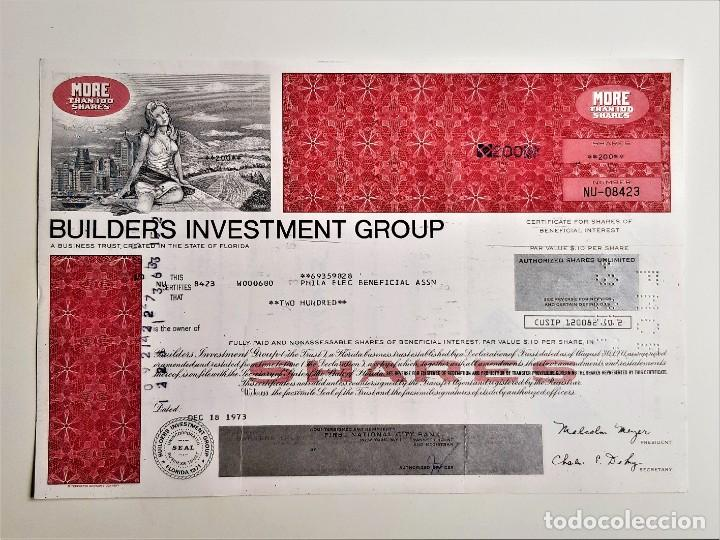 ACCION SHARES 1973 BUILDERS INVESTMENT GROUP (Coleccionismo - Acciones Extranjeras )