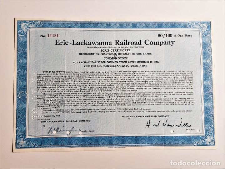 1966 ACCION ERIE - LACKAWANNA RAILROAD COMPANY (Coleccionismo - Acciones Extranjeras )