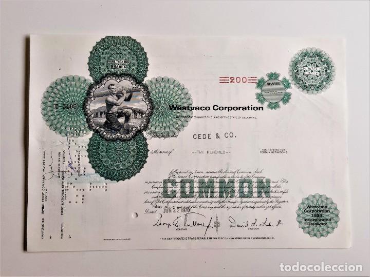 ACCION COMMON 1970 WESTVACO CORPORATION (Coleccionismo - Acciones Extranjeras )