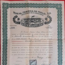 Collectionnisme Actions Internationales: ACCION NUEVA FABRICA DE HIELO CERVEZA LA TROPICAL MARIANAO HABANA CUBA 1960 ORIGINAL , K. Lote 212242848