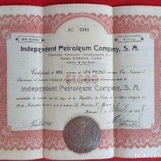 Coleccionismo Acciones Extranjeras: ACCION CUBA INDEPENDENT PETROLEUM COMPANY HABANA CUBA 1918 VALOR 1000 ORIGINAL , K. Lote 212243466