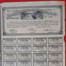 Coleccionismo Acciones Extranjeras: ACCION TRANVIA ELECTRICO DE CARDENAS MATANZAS 1915 CUBA ORIGINAL , K. Lote 212244811