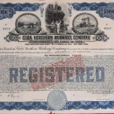 Coleccionismo Acciones Extranjeras: ACCION FERROCARRILES NORTE CUBA NORTHERN RAILWAYS COMPANY 1942 VALOR 1000 ORIGINAL , K. Lote 212245793