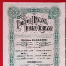 Coleccionismo Acciones Extranjeras: ACCION PORT OF HAVANA HABANA DOCKS COMPANY CUBA USA ORIGINAL , K. Lote 212246487