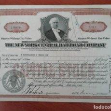 Coleccionismo Acciones Extranjeras: CERTIFICADO DE ACCIONES DE LA COMPAÑIA DE FERROCARRIL DE NEW YORK CENTRAL 1936. Lote 213064616