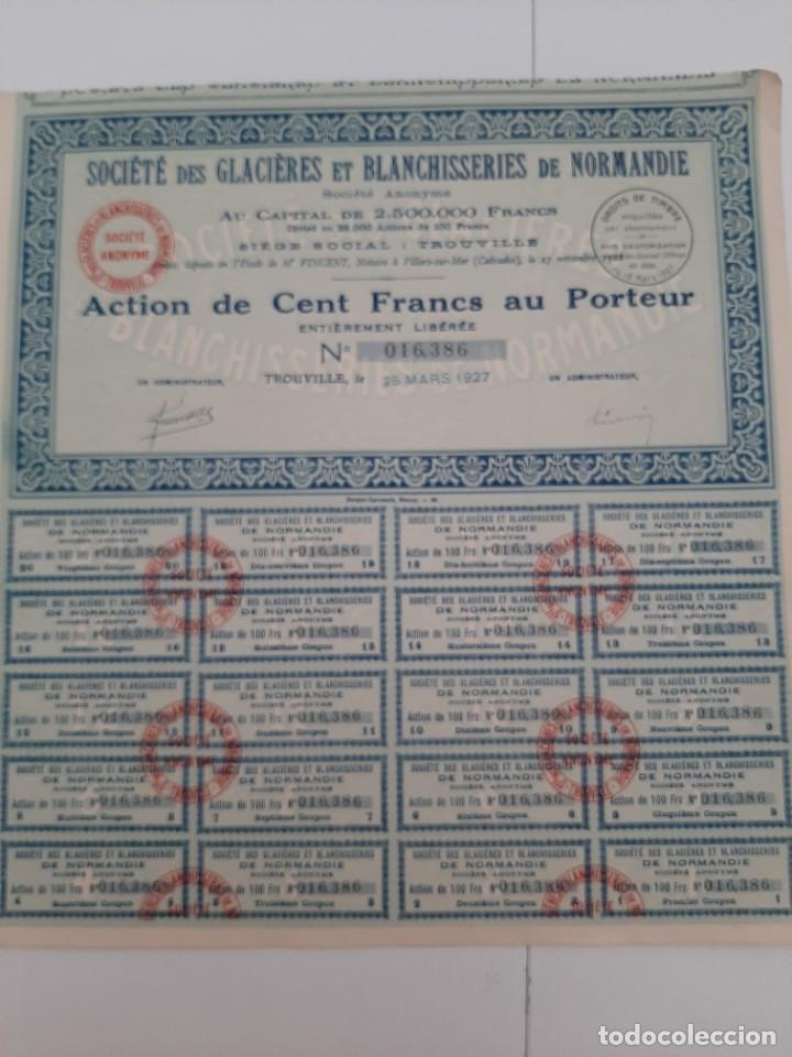 ACCIONES DE SGB DE NORMANDIA DE 100 FRANCOS CADA UNA DE MARZO DE 1927 (Coleccionismo - Acciones Internacionales)