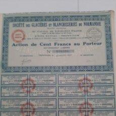 Coleccionismo Acciones Extranjeras: ACCIONES DE SGB DE NORMANDIA DE 100 FRANCOS CADA UNA DE MARZO DE 1927. Lote 217093647