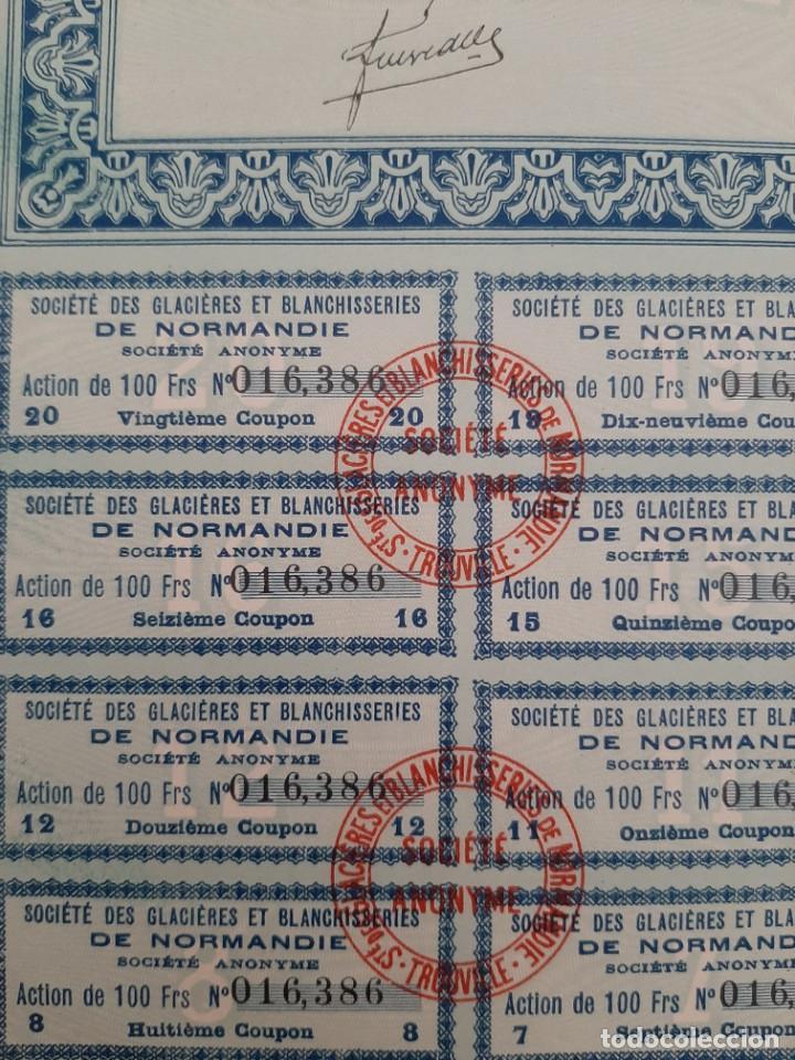Coleccionismo Acciones Extranjeras: acciones de SGB de normandia de 100 francos cada una de marzo de 1927 - Foto 2 - 217093647