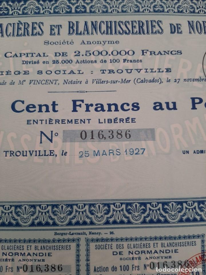 Coleccionismo Acciones Extranjeras: acciones de SGB de normandia de 100 francos cada una de marzo de 1927 - Foto 3 - 217093647